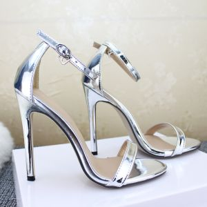 Affordable Silver Casual Womens Sandals 2020 Ankle Strap 12 cm Stiletto Heels Open / Peep Toe Sandals