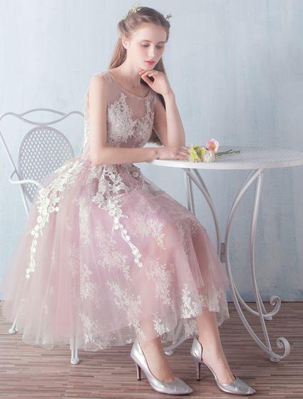 Teenager Prom Dresses 2016 A-line Applique Lace Ruffle Tulle Tea Length Graduation Dress