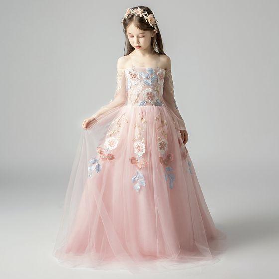 Elegantes Perla Rosada Vestidos Para Niñas 2019 A Line Princess Fuera Del Hombro Manga Larga Apliques Con Encaje Largos Ruffle Sin Espalda Vestidos
