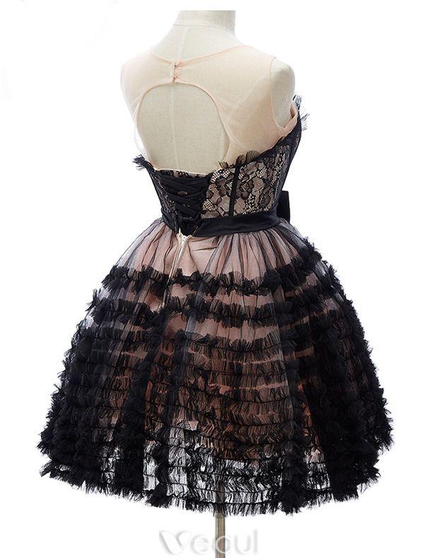 Belles Petites Robes Noires 2016 Volants Chérie En Cascade De Tulle De Dentelle Robe De Cocktail Courte Avec Un Noeud