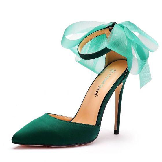 Chic / Belle Vert Foncé Promo Sandales Femme 2020 Satin Noeud Bride Cheville 11 cm Talons Aiguilles À Bout Pointu Sandales