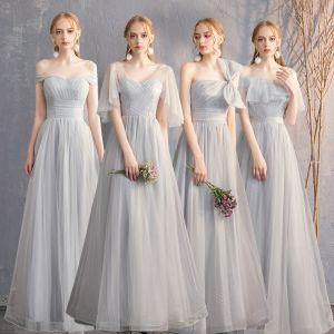 Rabatt Grau Brautjungfernkleider 2019 A Linie Geflecktes Tülle Lange Rüschen Rückenfreies Kleider Für Hochzeit