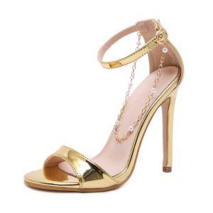 Chic / Beautiful Gold Street Wear Womens Sandals 2020 Ankle Strap 12 cm Stiletto Heels Open / Peep Toe Sandals