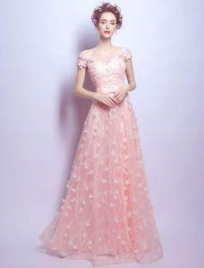 Charming Lange Abendkleid Mit Spitze Rosa Tüll Weg Vom Schulterkleid