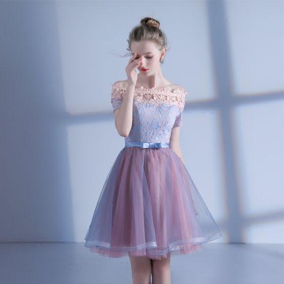 eb57e8befe Hermoso de fiesta Vestidos de graduación 2017 Rosa Azul Cielo Cortos A-Line    Princess Fuera Del ...