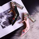Moderne / Mode Noire 8 cm À Bout Pointu Jardin / Extérieur Cuir Perlage Cristal Talons Hauts Escarpins Chaussures Femmes 2018