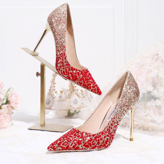 Błyszczące Uroczy Złote Czerwone Gradient-Kolorów Buty Ślubne 2020 Cekinami Cekiny 10 cm Szpilki Szpiczaste Ślub Czółenka