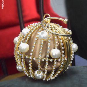 Fantastiske / Unike Gull Silke Runde Håndvesken  2020 Metall Perle Rhinestone