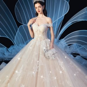 Chic / Beautiful Champagne Wedding Dresses 2019 Ball Gown Off-The-Shoulder Short Sleeve Backless Glitter Tulle Appliques Lace Cathedral Train Ruffle