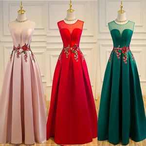 Affordable Satin See-through Prom Dresses 2019 A-Line / Princess Scoop Neck Sleeveless Floor-Length / Long Backless Formal Dresses