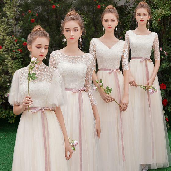 Rabatt Champagner Durchsichtige Brautjungfernkleider 2019 A Linie Stoffgürtel Applikationen Spitze Lange Rüschen Rückenfreies Kleider Für Hochzeit