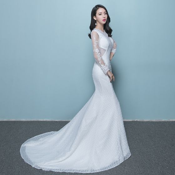Chic / Beautiful Wedding Dresses 2017 White Trumpet / Mermaid Cathedral Train Scoop Neck Long Sleeve Backless Lace Appliques Crystal Beading