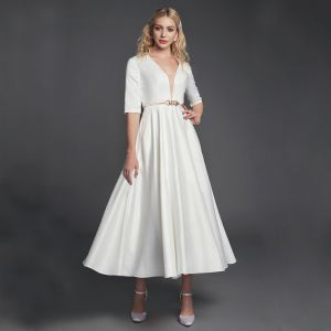 Modest / Simple White Evening Dresses  2020 A-Line / Princess Deep V-Neck 1/2 Sleeves Satin Zipper Tea-length Evening Party Formal Dresses