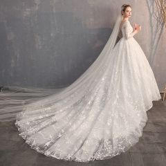 Affordable Ivory Pierced Wedding Dresses 2019 Ball Gown Square Neckline 3/4 Sleeve Backless Star Appliques Lace Cathedral Train
