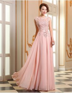 Rosa Balklänning A-line Spets Långa Aftonklänning Med Skärp