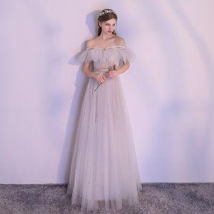Mode Grau Abendkleider 2018 A Linie Perlenstickerei Off Shoulder Rückenfreies Kurze Ärmel Lange Festliche Kleider