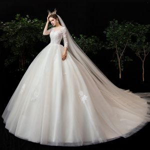 Romantic Champagne See-through Bridal Wedding Dresses 2020 Ball Gown Scoop Neck 3/4 Sleeve Backless Pierced Appliques Lace Chapel Train