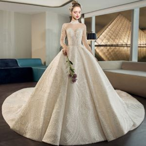 Luxury / Gorgeous Champagne See-through Wedding Dresses 2019 Ball Gown High Neck 3/4 Sleeve Backless Sequins Beading Cathedral Train Ruffle