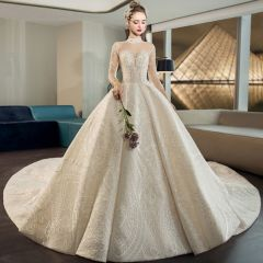 Wedding Dresses Champagne Crossed Straps See-through Backless Beading Ruffle Sequins Cathedral Train Tulle High Neck Church Fall Spring Summer 3/4 Sleeve Ball Gown Luxury / Gorgeous 2019