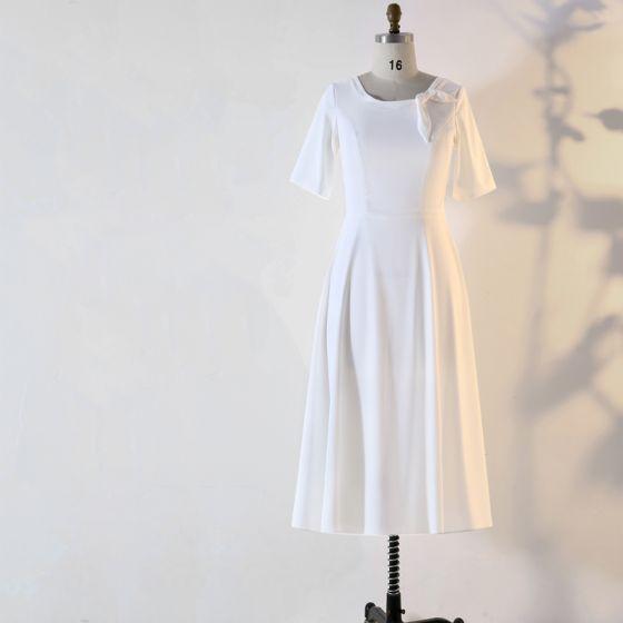 Schlicht Weiß Übergröße Abendkleider 2020 A Linie 1/2 Ärmel U-Ausschnitt Handgefertigt Einfarbig Wadenlang Abend Sommer Festliche Kleider