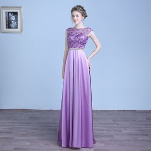 Chic / Beautiful Lilac Evening Dresses  2018 A-Line / Princess Lace Flower Sash Scoop Neck Backless Sleeveless Floor-Length / Long Formal Dresses