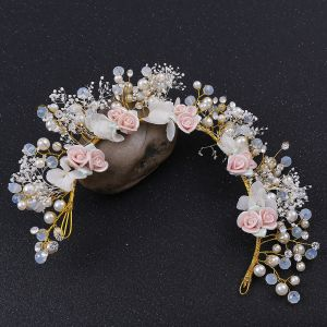 Flower Fairy Gold Headpieces Wedding Accessories 2020 Alloy Flower Beading Pearl Bridal Hair Accessories