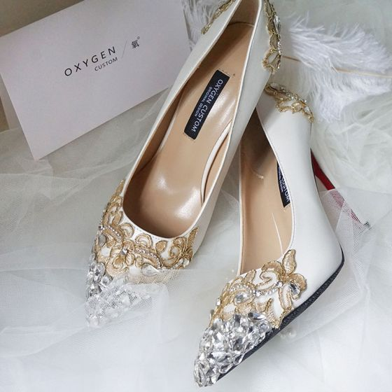 Luxury / Gorgeous Ivory Wedding Shoes 2019 Leather Appliques Lace Crystal Rhinestone 10 cm Stiletto Heels Pointed Toe Wedding Pumps