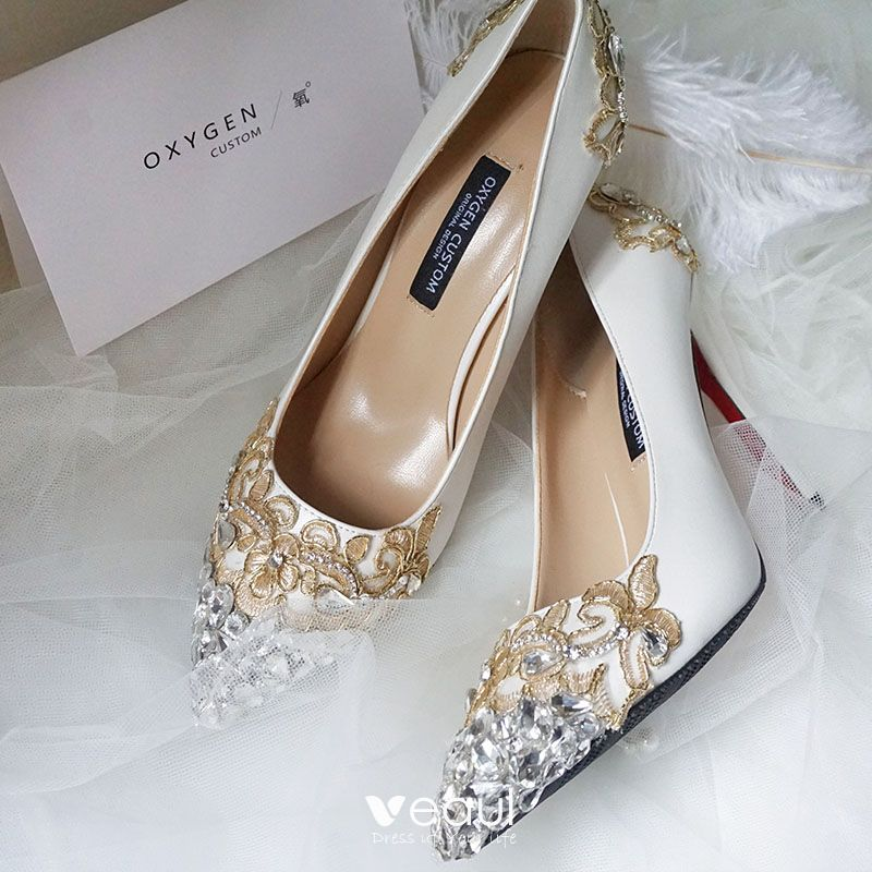 a1aeb6b48f Luxury / Gorgeous Ivory Wedding Shoes 2019 Leather Appliques Lace ...