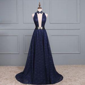Sexy Navy Blue Evening Dresses  2017 A-Line / Princess V-Neck Sleeveless Sequins Sash Backless Formal Dresses