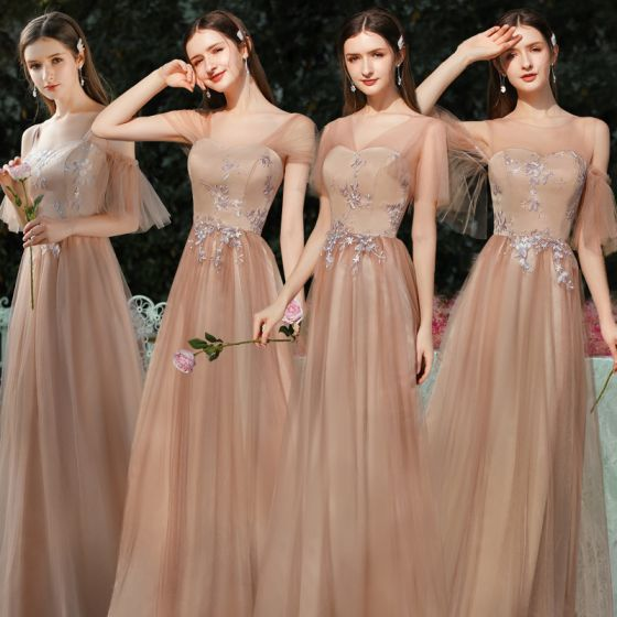 Elegant Brown Bridesmaid Dresses 2020 A-Line / Princess Backless Appliques Lace Floor-Length / Long Ruffle