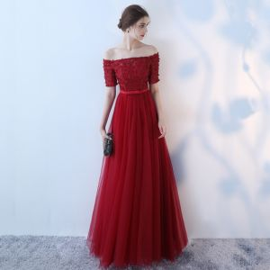 Chic / Beautiful Red Evening Dresses  2017 A-Line / Princess Artificial Flowers Bow Off-The-Shoulder Backless Short Sleeve Ankle Length