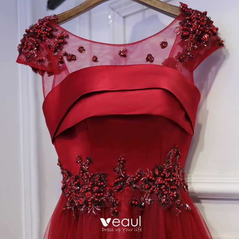 Chic / Beautiful Red Formal Dresses Evening Dresses  2017 Lace Flower Sequins Pearl Scoop Neck Short Sleeve Ankle Length A-Line / Princess