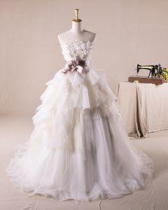 Assez Volants Applique Decoration Florale Bustier En Tulle Une Robe De Mariage En Ligne