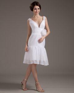 V-ausschnitt Spitze Handgemachte Blume Brautkleider kurz