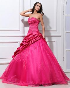 Ball Gown Taffeta Flower Ruffle Pattern Beading Women Quinceanera Prom Dresses