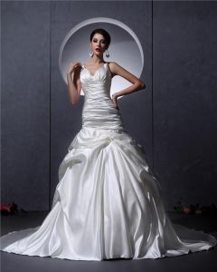 Ruffles V Neck Satin Court Mermaid Bridal Gown Wedding Dress