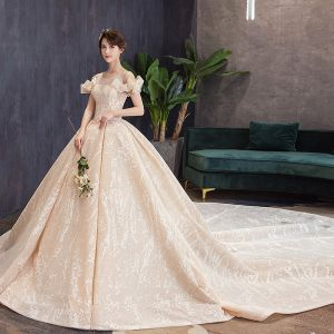 Luxury / Gorgeous Champagne Wedding Dresses 2019 Ball Gown Scoop Neck Bow Lace Flower Short Sleeve Backless Royal Train
