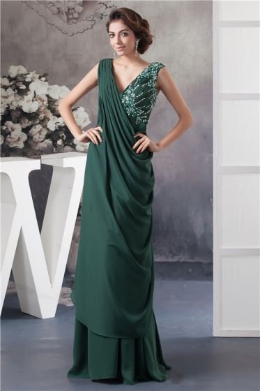 Eleganta V-ringad Applikationer Paljetter Volanger Långklänning Gröna Mor Brudens Klänning