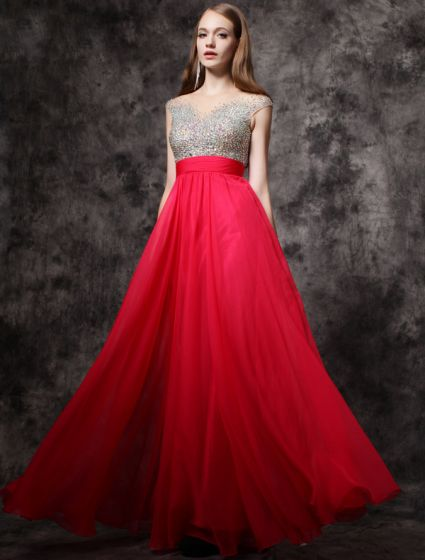 2016 Sparkly Sequin Scoop Neck Backless Red Chiffon Prom Dress