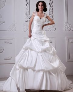 Snygg Satin Parlbrodering Sweatheart Domkyrka A-line Brudklänningar Bröllopsklänningar