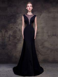 2016 Eleganten U-ausschnitt Tüll Mit V-ausschnitt Schwarzes Abendkleid