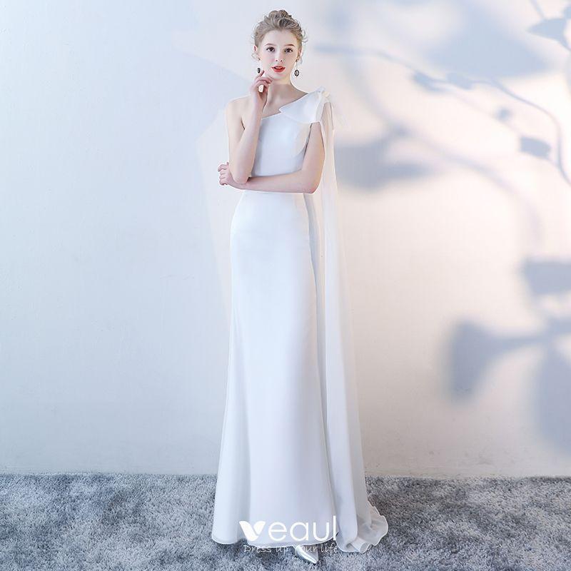 Klassisch Elegante Weiss Abendkleider 2018 Mermaid Lange One Shoulder Tulle Abend Ruckenfreies Festliche Kleider
