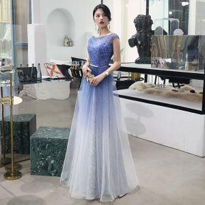 Modern / Fashion Gradient-Color Evening Dresses  2018 A-Line / Princess Metal Sash Sequins Scoop Neck Backless Sleeveless Floor-Length / Long Formal Dresses