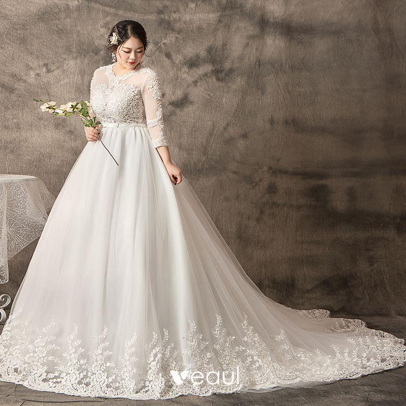 Amazing / Unique White Plus Size Ball Gown Wedding Dresses 2019 Tulle Lace  U-Neck Appliques Backless Handmade Chapel Train Wedding