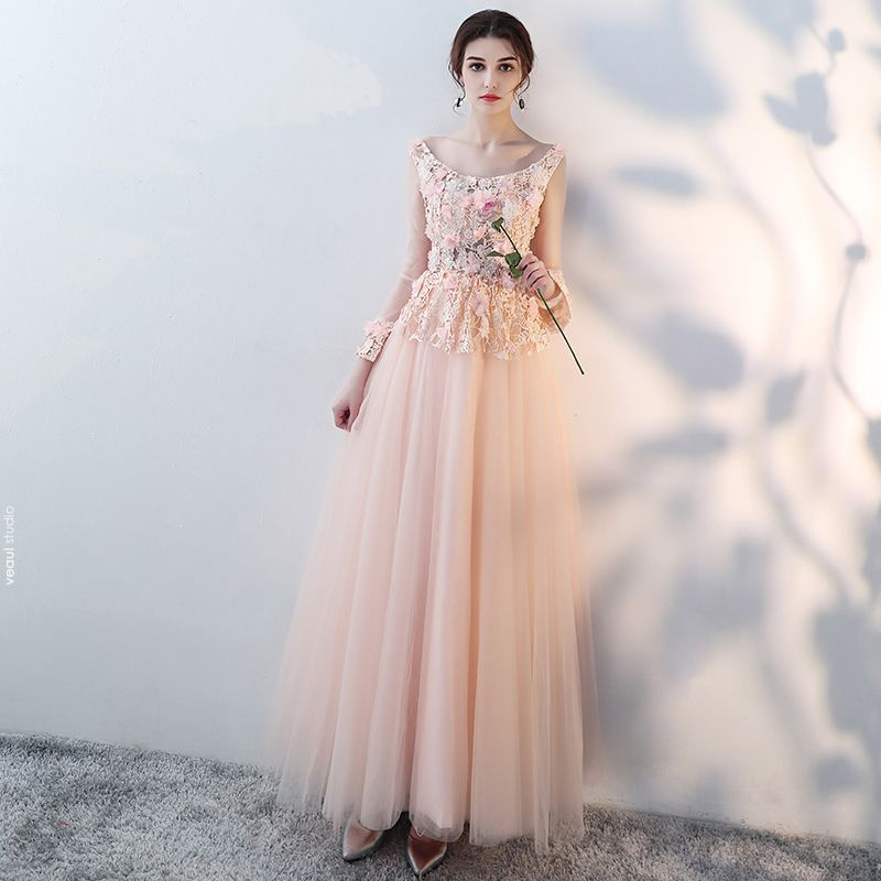Amazing / Unique Blushing Pink Floor-Length / Long Evening Dresses  2018 A-Line / Princess Tulle Lace-up U-Neck Appliques Backless Beading Formal Dresses