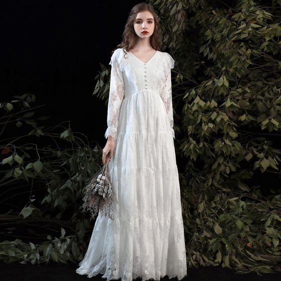 Affordable White Lace Outdoor / Garden Wedding Dresses 2020 Empire V-Neck Long Sleeve Floor-Length / Long