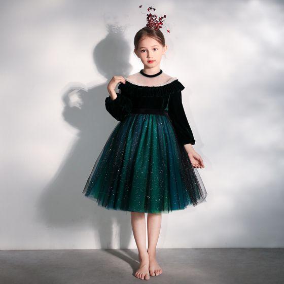 Piękne Ciemnozielony Zamszowe Przezroczyste Urodziny Sukienki Dla Dziewczynek 2020 Suknia Balowa Wysokiej Szyi Bufiasta Długie Rękawy Kokarda Szarfa Cekinami Tiulowe Krótkie Wzburzyć