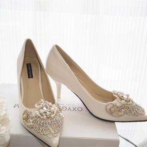 Magnífico Marfil Hecho a mano Rebordear Zapatos de novia 2019 Perla Rhinestone 10 cm Stilettos / Tacones De Aguja Peep Toe Boda Tacones