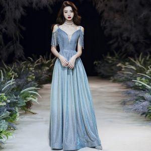 Charming Pool Blue Glitter Evening Dresses  2020 A-Line / Princess Spaghetti Straps Beading Tassel Sleeveless Backless Floor-Length / Long Formal Dresses