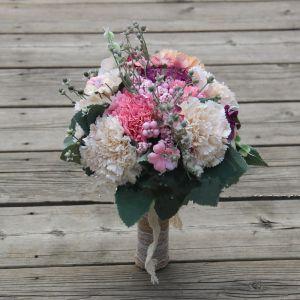 Piękne Multi-Kolory Ślub Kwiat 2019 Perła Sztuczne Kwiaty Bukiety Ślubne